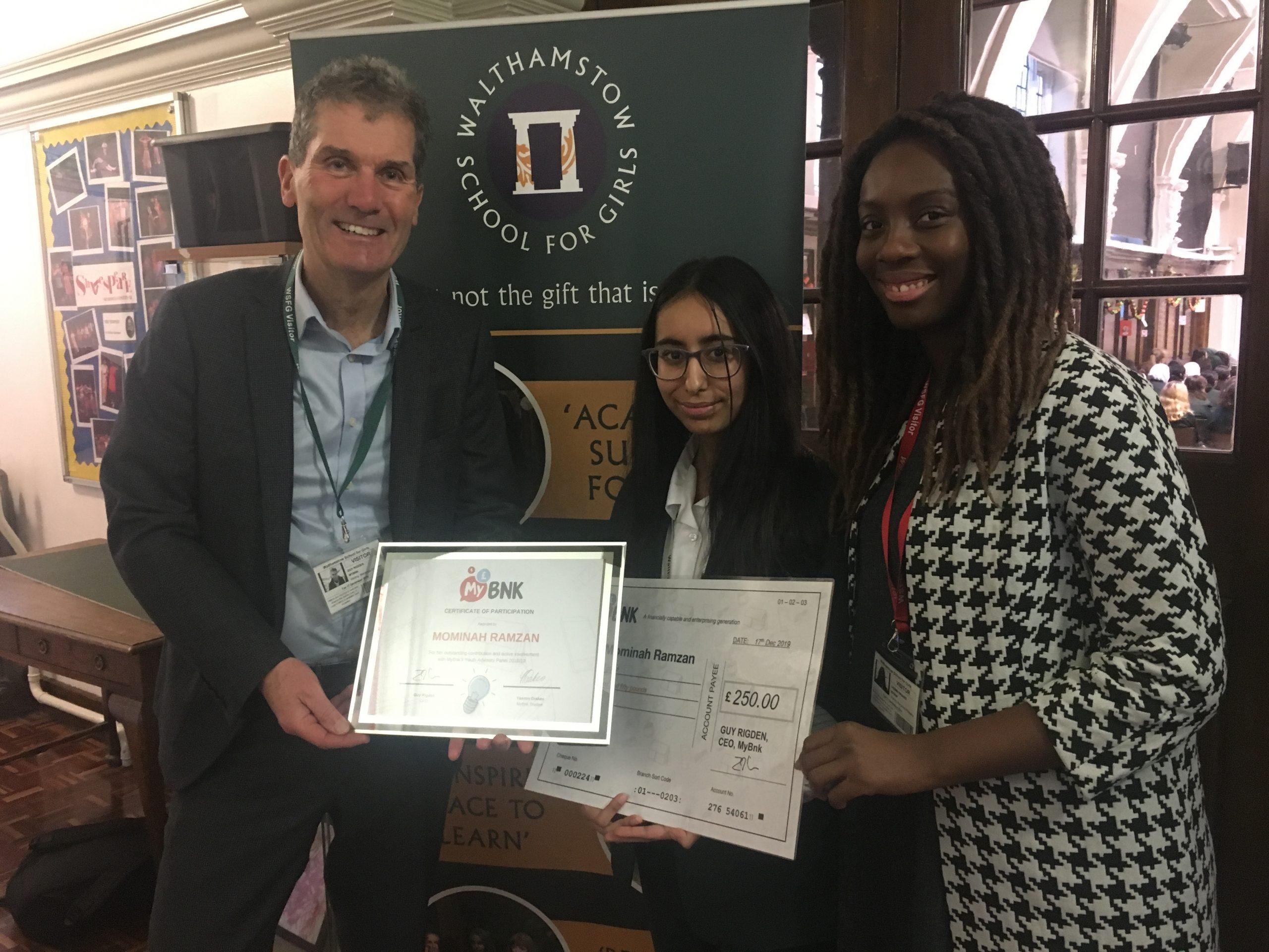 MyBnk Ambassador Wins Award for Services to Financial Education